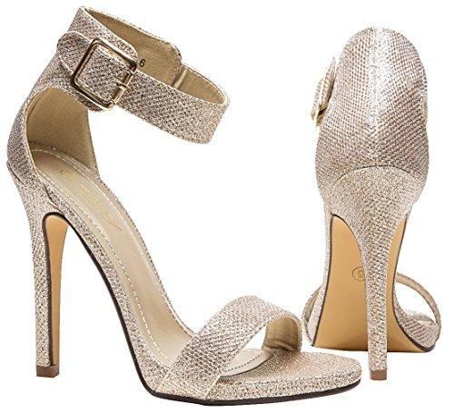 es Glitter High Heel Sandals for Women Strappy Pumps (7,Gold) ()