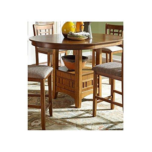 Svitlife Santa Rosa Mission Oak 42x60 Pedestal Gathering Table - Brown Pedestal Table Antique Victorian Carved Stand Mahogany Top Oak Marble C Base -
