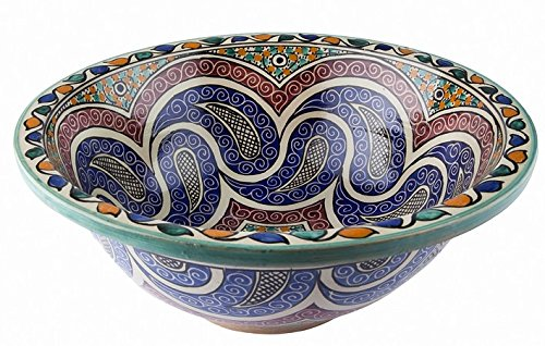 La Fes / Granada in ceramica dipinta a mano marocchina il lavandino del bagno lavabo - Round, dipinta da dentro a fuori - di camma 40 H 16 cm Maison Andaluz