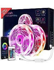KOOSEED taśma LED Bluetooth, 12 m, taśma świetlna LED 5050 RGB, sterowanie za pomocą aplikacji, pilot zdalnego sterowania, 12 V, łańcuch świetlny LED, na imprezę, do domu itd.