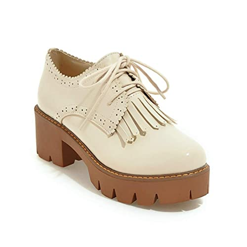 biggest discount classic shoes popular brand GIY Women's Lace Up Platform Oxford Pumps Round Toe Wingtip Tassels Chunky  Mid Heel Vintage Dress Shoes