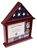 flag frame 3 x 5 - DECOMIL - 3x5 Flag Display Case with Certificate and Document Holder Mango Finish