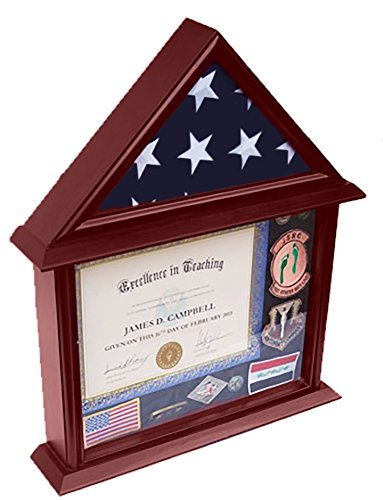 (DECOMIL - 3x5 Flag Display Case with Certificate and Document Holder Mango)