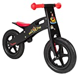 BIKESTAR® Original Safety Wooden Lightweight Kids First Balance Running Bike with air tires for age 3 year old boys and girls | 12 Inch Edition | Diabolic Black
