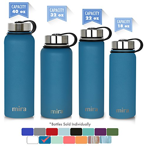 MIRA 40 oz Stainless Steel Vacuum Insulated Wide Mouth Water Bottle | Thermos Keeps Cold for 24 hours, Hot for 12 hours | Double Walled Powder Coated Travel Flask | Hawaiian Blue by MIRA
