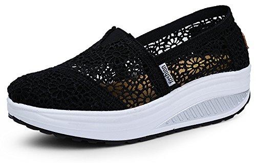 Ausom Kvinners Hekle Pustende Slip-on Plattform Kiler Toning Sko Walking  Fitness Trene Sneaker Svart