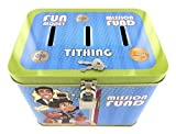 Boy's 3-Slot Tin Bank for Tithing, Mission Fund, and Fun Money - Size: 5.75