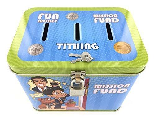 Tin Bank for Tithing, Savings, and Fun Money - Blue