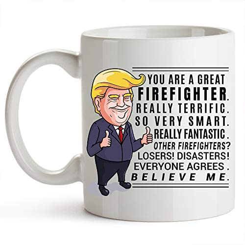 (Firefighter Cup 11 Ounce Trump Mug Firefighter Gifts For Men Fireman Gifts For Men Fire Department Gifts)