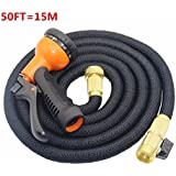 8-Pattern High-Pressure Water Spray Nozzle,50ft Flexible Water Hose with 8 Modes Spray Gun for Home Garden - Black