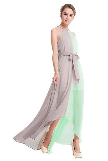 GWELL Elegant Damen Chiffon Maxikleid Neckholder Ärmellos Sommer Frühling  Swing Kleider Abend Cocktailkleid Brautjungfernkleid grün 3XL  Amazon.de   ... d3e3558372