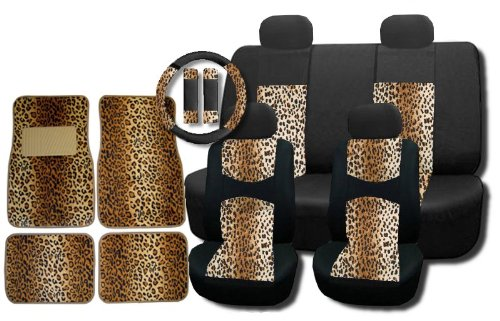 New and Exclusive Mesh Animal Print Interior Set Brown Leopard 15pc Seat Covers Front & Back Lowback, Back Bench, Steering Wheel & Seat Belt Covers - 4pc Floor Mats - Tan Safari - Leopard Car Seat