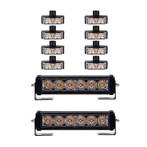 2 PCS LED Amber Light Emergency Warning Strobe Flashing Yellow Bar - 8