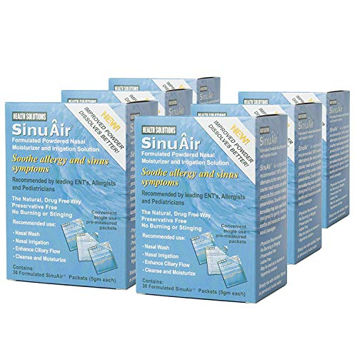 SinuAir Powdered Saline 30 Convenient Packets (6 Boxes)