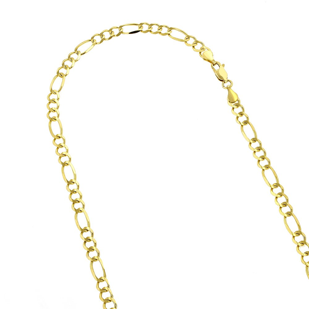 Luxurman 10K 8'' Yellow Solid Gold 5mm Diamond Cut Figaro Chain Link Bracelet with Lobster Clasp