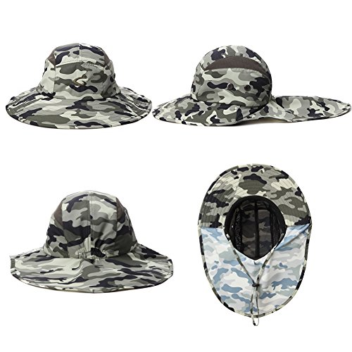 36771c8ed0a ... Protection Quick Mens Hiking Cap Lightgreen camo Hat Unisex Wide Uv  Flap Siggi Cover Neck With ...