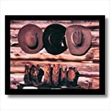 Old Cowboy Boots And Hats Western Rodeo Wall Picture Art Print