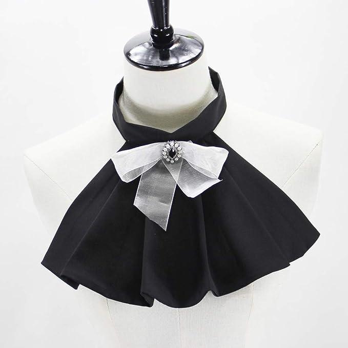Keshida collar falso falso con estrás arrugado y corbata de lazo ...