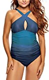 Eomenie Women's X-Form Bandage Monokini One-Piece Swimsuits (L, Light Blue)