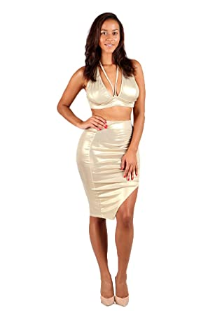 Women S Sexy Metallic Halter Crop Top Pencil Midi Skirt 2 Piece Set