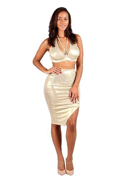 1a056a054 Women's Sexy Metallic Halter Crop Top Pencil Midi Skirt 2 Piece Set Dress  Suits: Amazon.ca: Clothing & Accessories