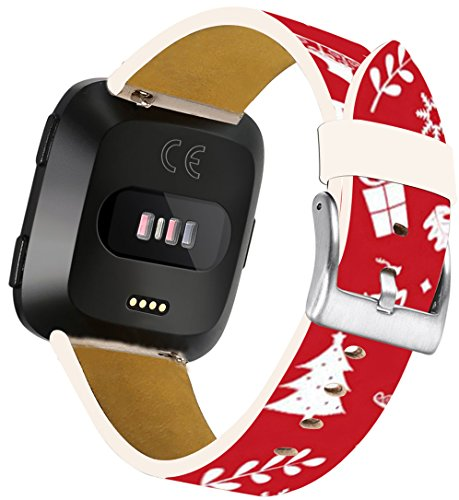 Leather Strap for Fitbit Versa Pattern - ENDIY Small/Large Compatible Designer Replacement Band Fashionable Women for Fitbit Versa Red Design ()