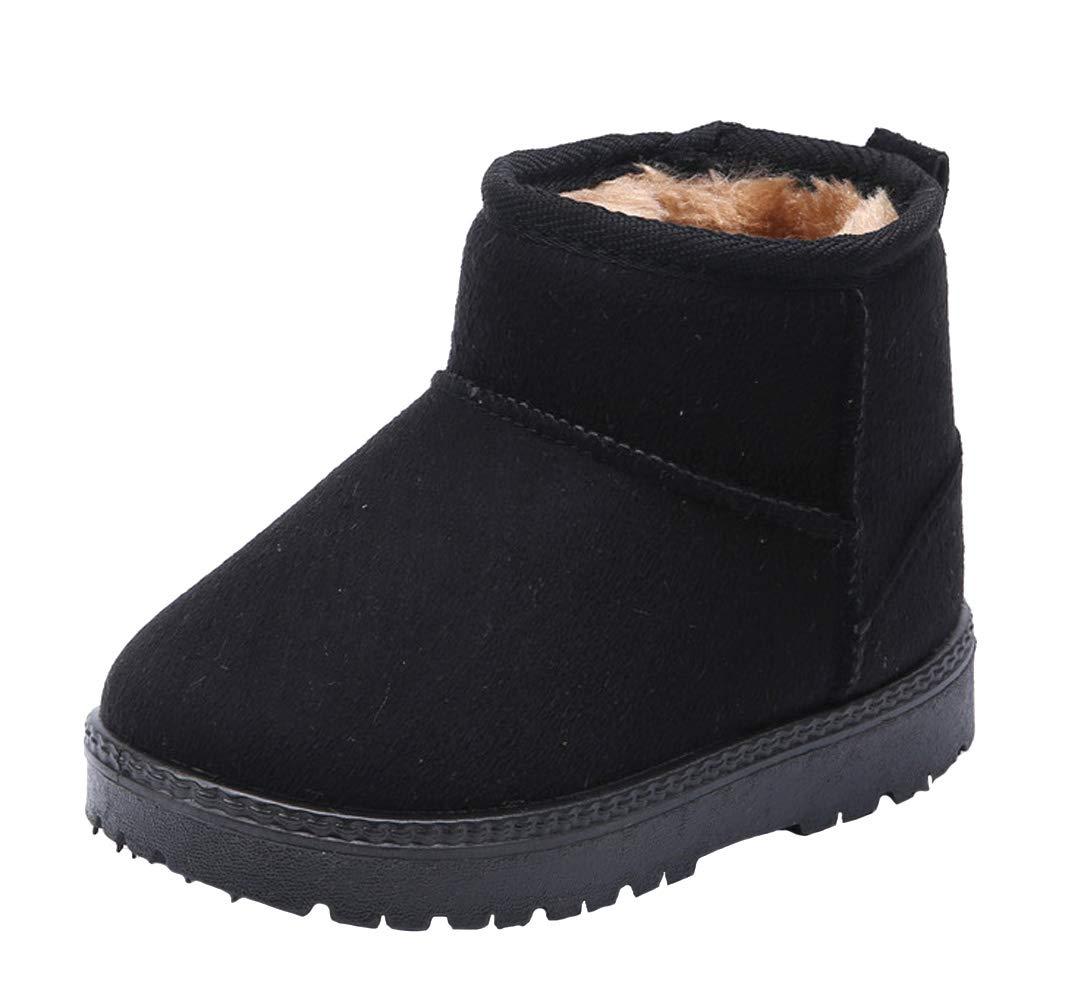 WUIWUIYU Kids' Boys' Girls' Round Toe Outdoor Warm Fur Lined Winter Snow Boots Toddler Little Kid by WUIWUIYU (Image #1)
