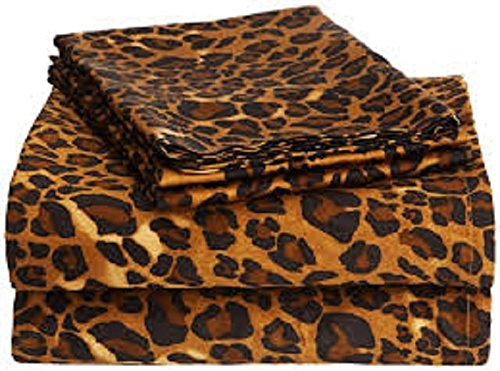 4 Piece Sheet Set 600-Thread-Count Egyptian Cotton (+15 Inch) Deep Pocket (Leopard Print, King Size)