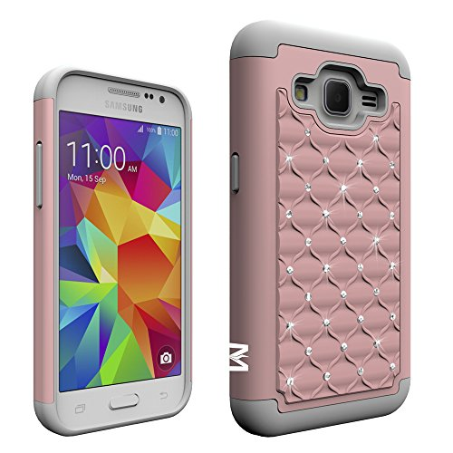Prevail LTE Case,Core Prime Case, MagicSky [Shock Absorption] Studded Rhinestone Bling Hybrid Dual Layer Armor Defender Protective Case Cover for Samsung Galaxy Core Prime/Prevail LTE 4G(Rose Gold) (Samsung Galaxy Prevail Cases)