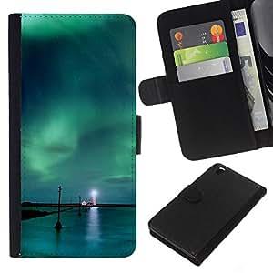 LECELL--Cuero de la tarjeta la carpeta del tirón Smartphone Slots Protección Holder For HTC DESIRE 816 -- Aurora Borealis Faro --