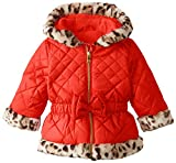 Pistachio Baby Girls' Quilted Jacket with Animal Print Faux Fur Trim, Red, 18 Months