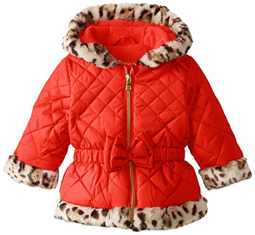 Trim Animal Jacket (Pistachio Baby Girls' Quilted Jacket with Animal Print Faux Fur Trim, Red, 18 Months)