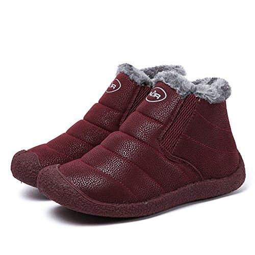 Donna 46 34 Sportive Invernali Neve Rosso Impermeabile 2 Uomo da Boots Caviglia Botas Piatto Stivaletti Stivali Fexkean Scarpe UZ5Hq7