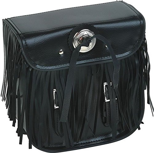 Dealer MOTORCYCLE MOTORBIKE BRAIDED FRINGES SISSY BAR TRAVEL BAG LUGGAGE NEW BLACK