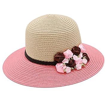 Baodery El Sol Schirmmütze Flor Sombrero De Corea - Verano - Moda - Viajes Beach Sombrero.,Pac (56-58Cm Code),Pink