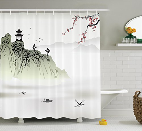 Asian Chinese Painting - Ambesonne Asian Decor Collection, Chinese Landscape Painting with the Temple on the Cliff and Flying Gulls over the Clouds, Polyester Fabric Bathroom Shower Curtain Set with Hooks, White Green