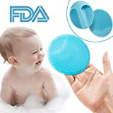 Cradle Cap Brush and Comb, Bath Massage Brushes, Playmont Mini Silicone Facial and Head Cleansing Pads,  Blackhead Removing, Exfoliating, Scalp Massager Brush for Kids and Girls, Blue, 2pcs