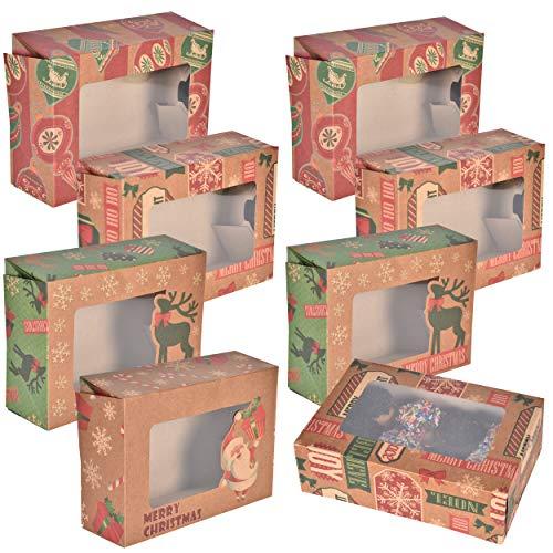 24 Count Christmas Cookie Boxes with Window Rectangle Shape 8.6