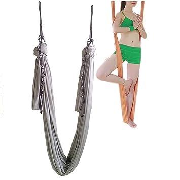Hamaca elástica para pilates y yoga aéreo, de Wellsem®. Con mosquetón y cadena margarita. 5 m, plata
