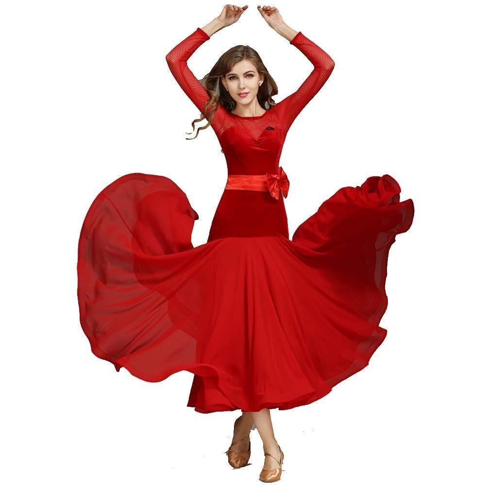 rouge Medium JTSYUXN Robe De Danse Sociale en Salle De Spectacle pour Les Femmes Ceinture en Ceinture à Manches Longues Valse National Standard Expansion Jupe Costume De Danse Moderne (Couleur   noir, Taille   XXL)