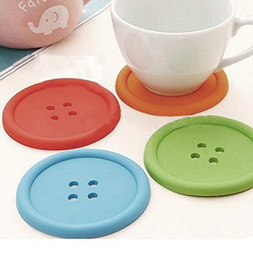 Polytree 5pcs Cute Colorful Silicone Button Coaster Cup Mat Cushion Holder Drink Placemat