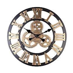 BEAMNOVA Wall Clock Analog Non Ticking Gear Clock Rustic Retro Decorative Rustic Vintage Look Timer (Bronze Roman, 23 inch)
