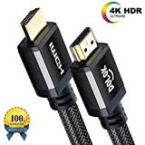 POLOK - HDMI Cable 10ft | Ultra HD HDMI 2.0b(4K @ 60Hz) | High Speed with Ethernet channel | UHD 2160p@60Hz 4:4:4 | 3D / HDR / ARC / CEC / HDCP | High bandwidth 18 Gbit/s | black