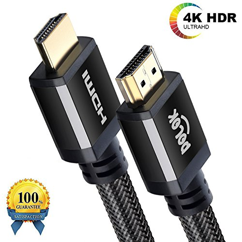 POLOK - HDMI Cable 10ft | Ultra HD HDMI 2.0b(4K @ 60Hz) | High Speed with Ethernet channel | UHD 2160p@60Hz 4:4:4 | 3D / HDR / ARC / CEC / HDCP | High bandwidth 18 Gbit/s | black by POLOK