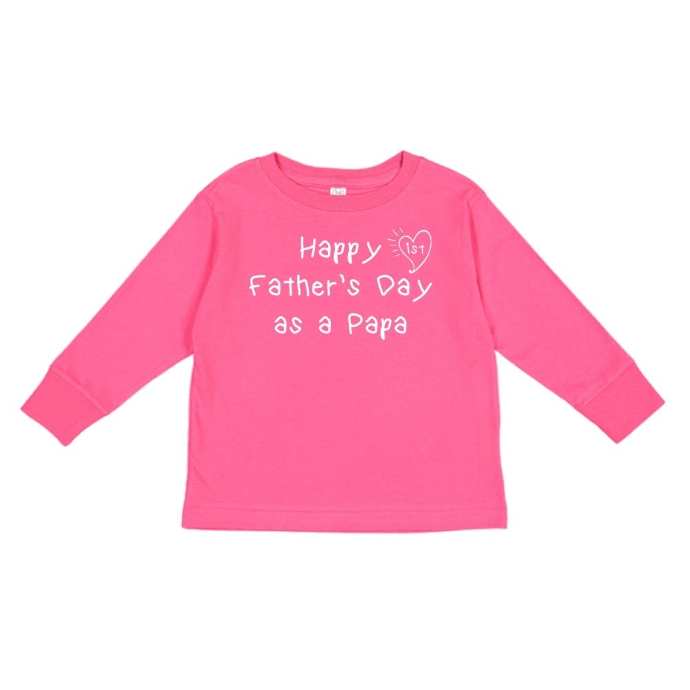 Toddler//Kids Long Sleeve T-Shirt Kids Handwriting Happy 1st Fathers Day as a Papa