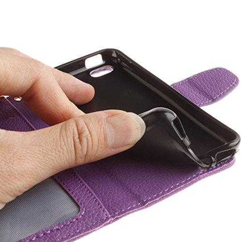 Voguecase® Pour Apple iPhone 5C Coque, Étui en cuir synthétique chic avec fonction support pratique pour Apple iPhone 5C (Dragonne-Litchi-Violet)de Gratuit stylet l'écran aléatoire universelle