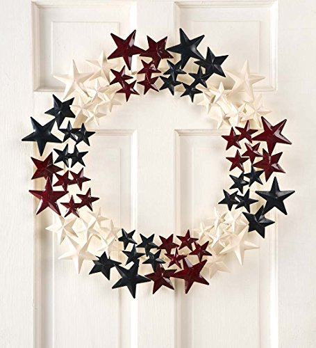 Handcrafted Metal Americana Stars Wreath