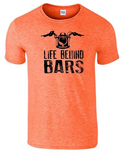"""SNS Online Heather Orange / Schwarz Design - XXL - Brustumfang : 50"""" - 52"""" - Life Behind Bars Frauen Der Männer Damen Unisex T Shirt"""