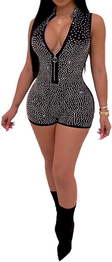 HongHu Womens Elegant One Shoulder Short Sleeve Jumpsuits High Waisted Romper