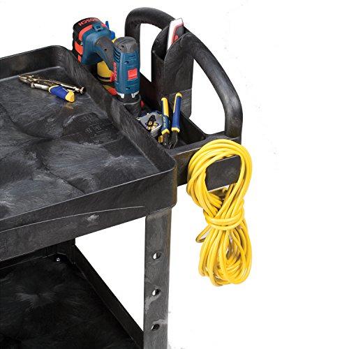 Rubbermaid FG452088BLA Commercial Heavy-Duty 2 Shelf Utility Cart, Lipped Shelves, Medium, Black, 500 Pound Capacity by Rubbermaid Commercial Products (Image #7)